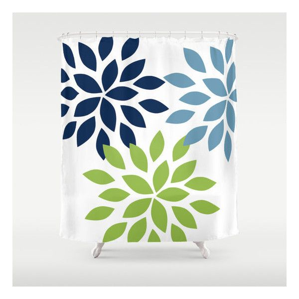 Dahlia Shower Curtain Pear Navy Stone Art Bathroom Accessories Home... ($80) ❤ liked on Polyvore featuring home, bed & bath, bath, shower curtains, bathroom, home & living, shower curtains & rings, silver, navy shower curtains and modern shower curtains