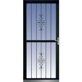 LARSON�36-in x 81-in Black Classic View Full-View Tempered Glass Storm Door