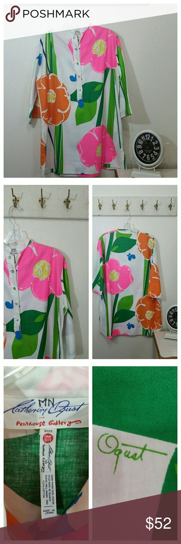 """Vintage Catherine Oquest colorful Tunic, 70s 3/4 Sleeve Tunic Cotton Buttons half down front Large bold floral print, signed fabric, Oquest  Catherine Oquest, for Penthouse Gallery  Label says One Size, see measurements  46 bust area 48"""" mid section 22""""  length  Very good vintage condition, bright colors. Vintage  Tops Tunics"""