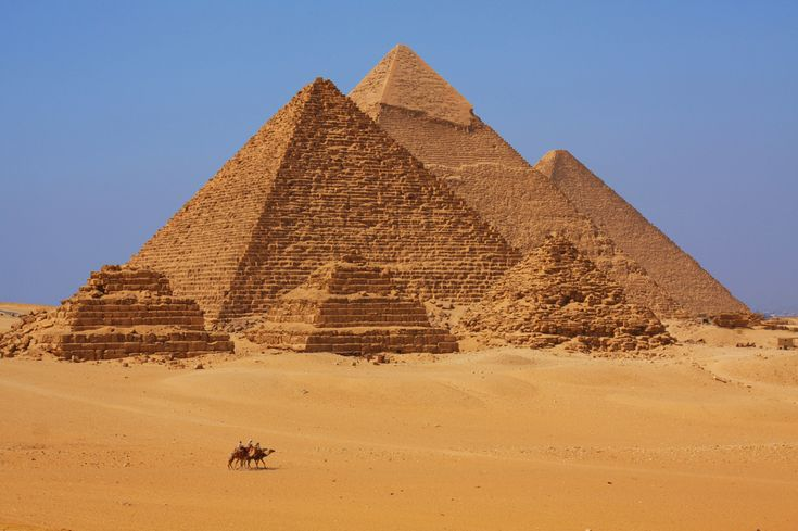 Pyramids of Giza  — Khufu, Khafre and Menkaure — were constructed between 2589 B.C. and 2504 B.C., though scientists still debate how exactly they were erected. Once built, the Giza pyramids were encased in white limestone, most of which has worn away.  The pyramids were most likely used as the resting  places for their respective kings. The grave goods  once located inside the pyramid complexes would have helped the kings ascend to the afterlife.