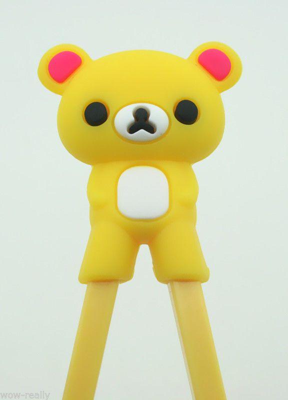 Cute Bear Design Children's Training Learning Easy Fun Chopsticks-Yellow
