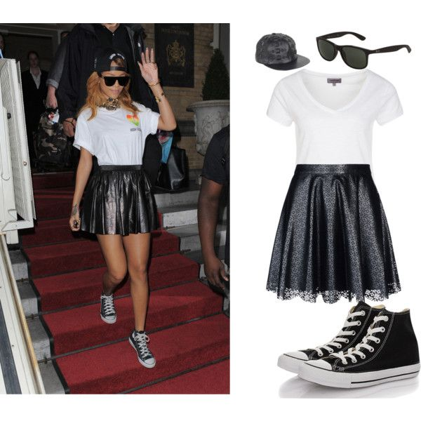 Rihanna by moniqueallen377 on Polyvore featuring Zalando, Vanessa Bruno Athé, Converse, Gaetano Navarra and Ray-Ban