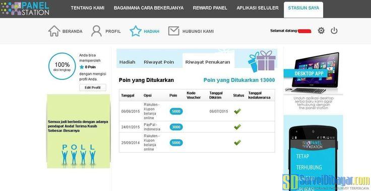 Riwayat penukaran poin The Panel Station Indonesia | SurveiDibayar.com