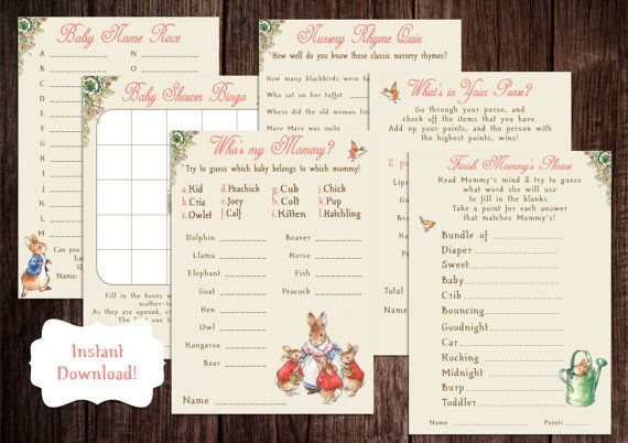 Printable Peter Rabbit Baby Shower Game by PoppinPaperParties