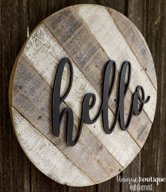 "Round Circle door Hanger HELLO Sign 19"" White painted reclaimed wood shiplap Rustic Striped Farmhouse Decor Distressed Hanging wooden art"