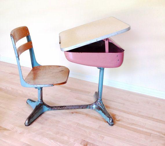 School Desk 1950 39 S Desk Chair Combo Pink And Blue Streamline Design C