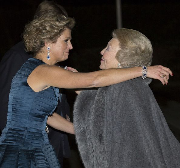 Queen Maxima of The Netherlands and Princess Beatrix of The Netherlands (R) leave after attending a celebration of the reign of Princess Beatrix on 01.02.14 in Rotterdam, Netherlands.