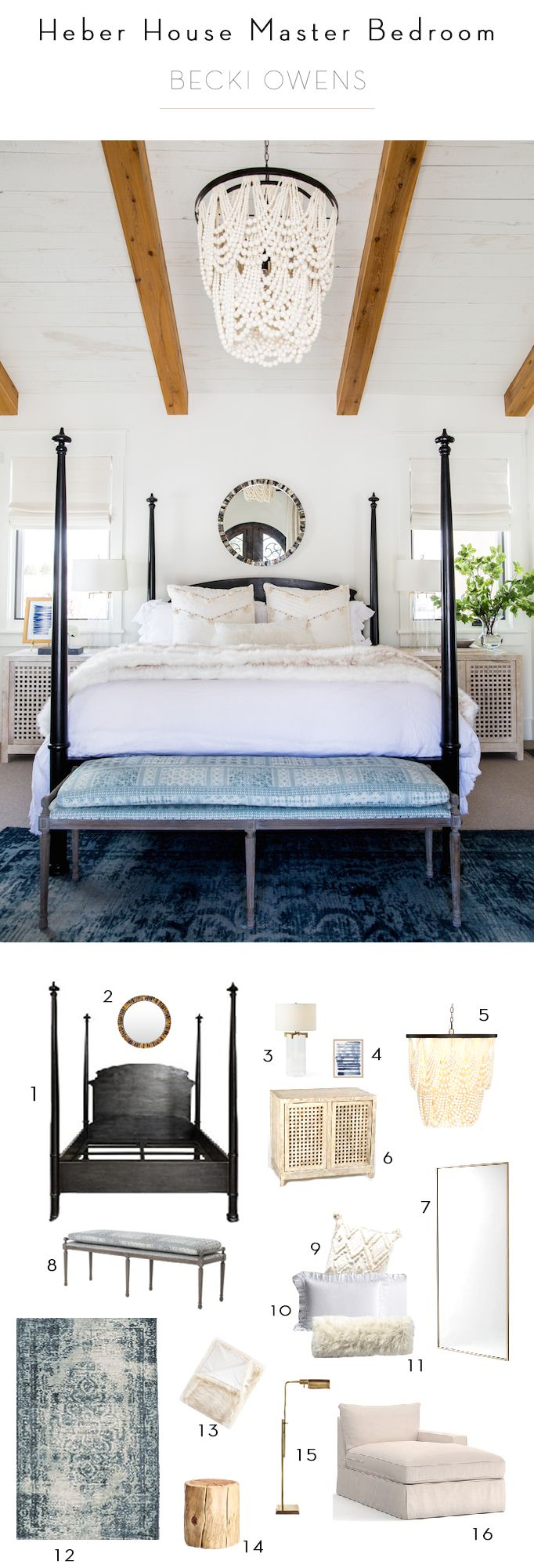 BECKI OWENS- Heber House Project Master Bedroom - a fresh space with warm rustic accents - BM Swiss Coffee, exposed beams, shiplap, marble fireplace, wood bead chandelier, overdyed blue rug, Noir four poster bed