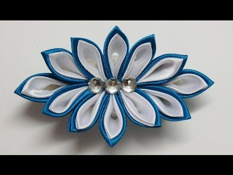 How to make kanzashi flower hairclip,kanzashi tutorial,diy flores de cinta - YouTube