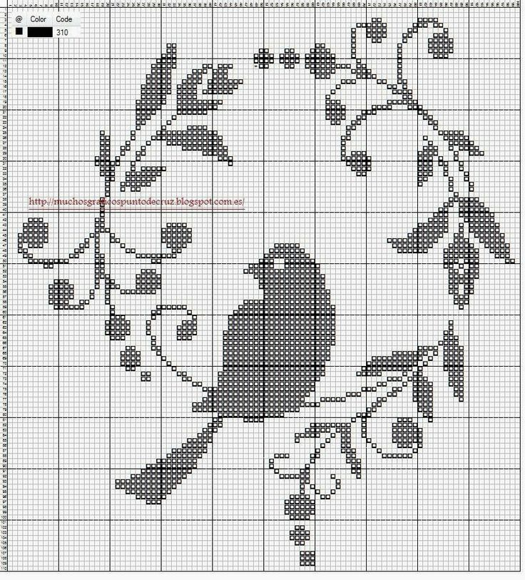 Free fillet bird wreath cross stitch pattern #stitching