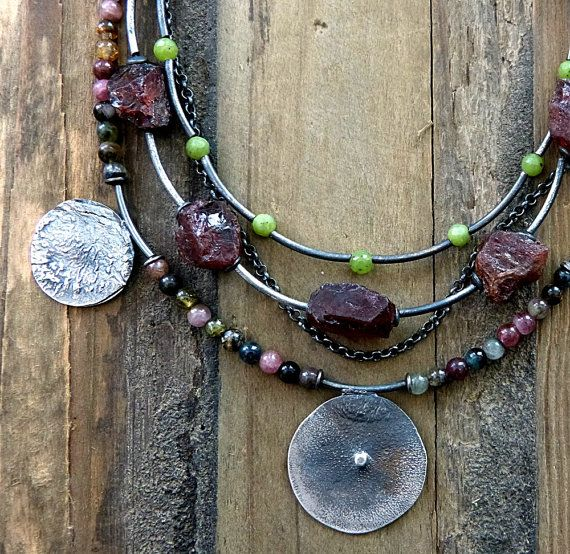 Tribal Rustic  Necklace  Raw Sterling Silver  Pink by COTELLE
