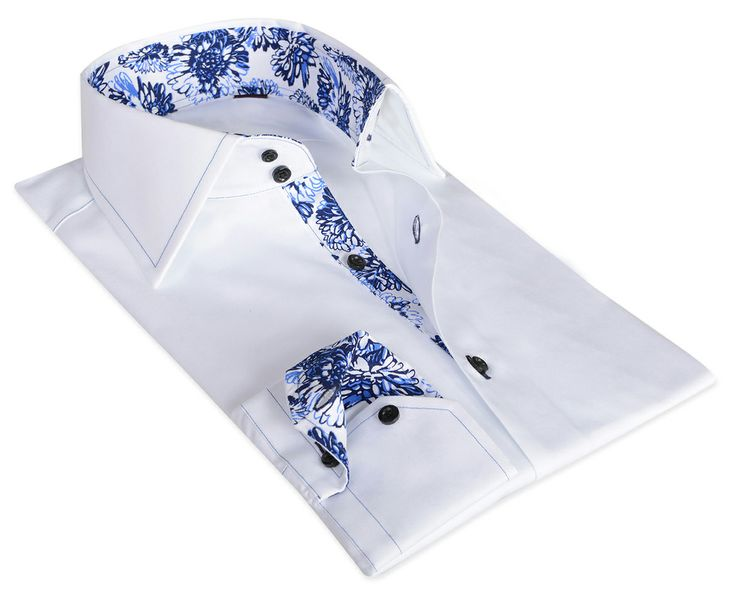 White / Blue Flower Cotton Shirt 100% Italian cotton fabric Made in Italy Straight fit (slim fit optional)