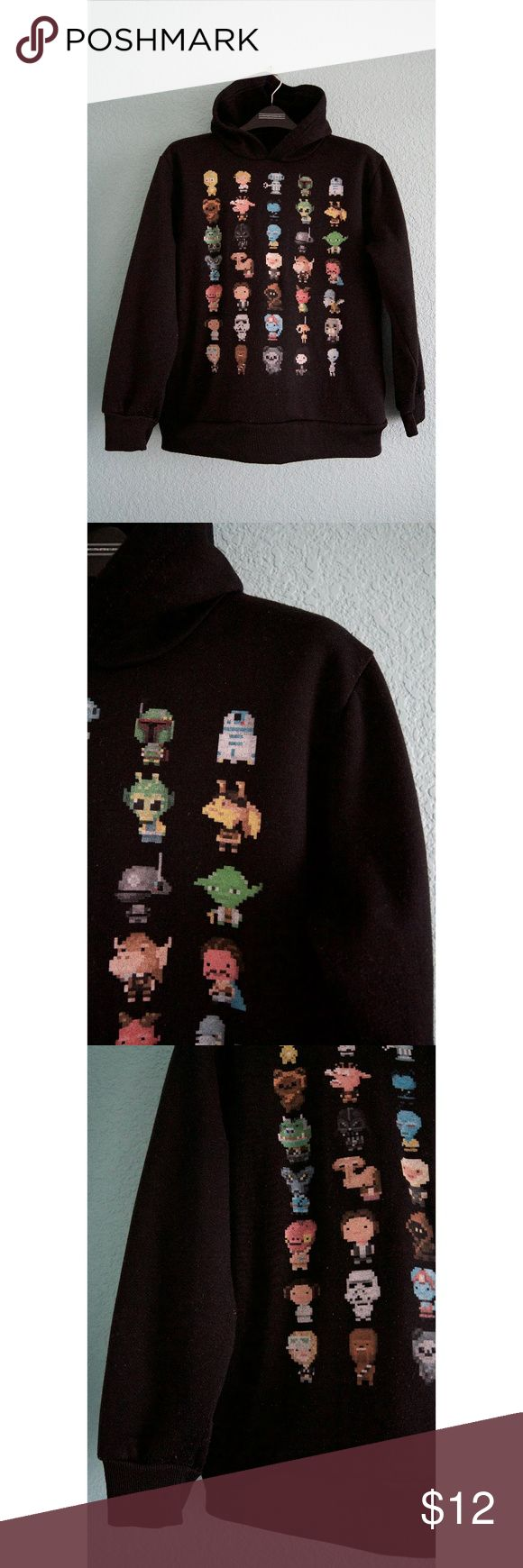 Star Wars (Boys) | Pixelated Character Hoodie Black hoodie with pixelated Star Wars characters from Star Wars. Hidden pockets. Good, used condition--minimal pilling. Boys size Medium--true to size. Price is firm. No model. No trades. Bundle for discount. Star Wars Shirts & Tops Sweatshirts & Hoodies