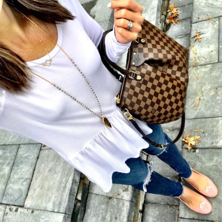 Instagram: @mrscasual | White peplum top, ripped jeans, blush tory burch flats, and Louis Vuitton bag