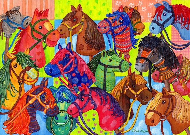 Hoksotin | A free digital jigsaw puzzle of hobby-horses / Ilmainen digitaalinen palapeli keppihevosista