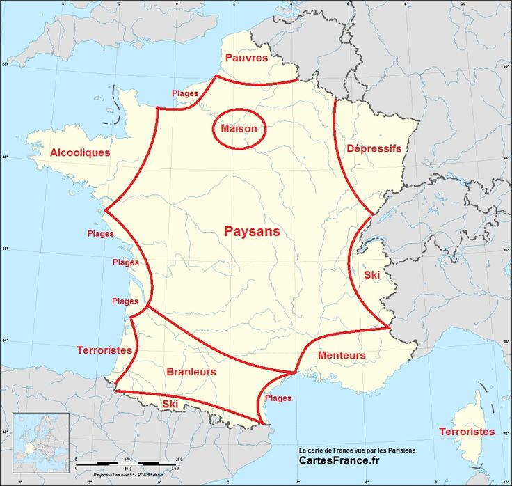La carte de France vue par les Parisiens (blague) / tongue-in-cheek map of France from Parisians' point of view