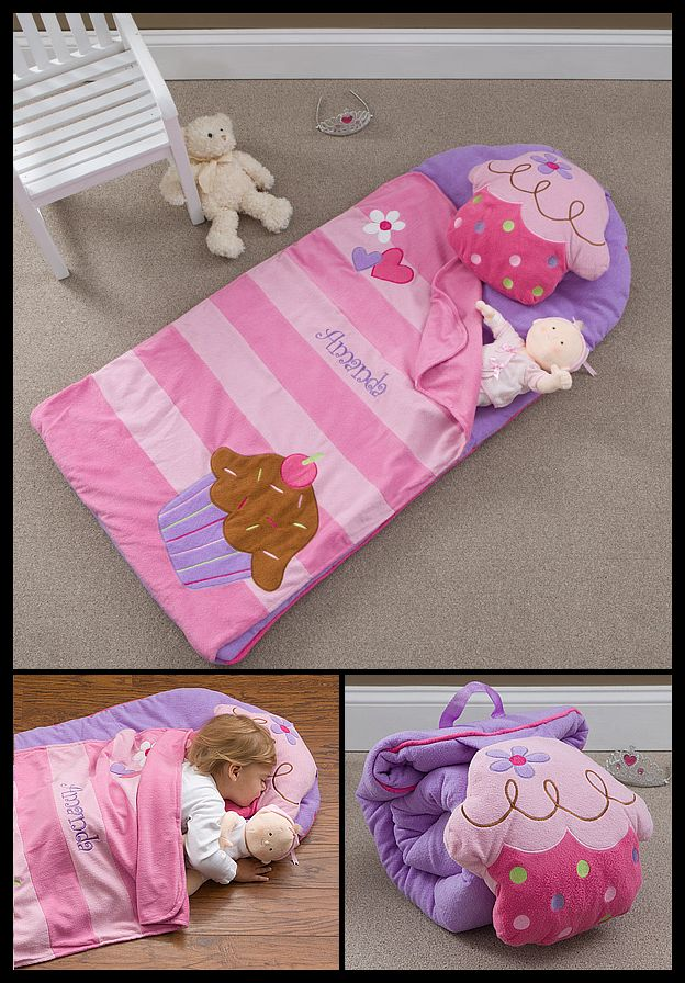 OMG! LOVE LOVE LOVE this Lil' Cupcake Embroidered Nap Mat! It's so cute - especially the cupcake pillow! You can have this cute sleeping bag personalized with any name and it rolls up nicely so it's easy to travel with! #Cupcake #Kids