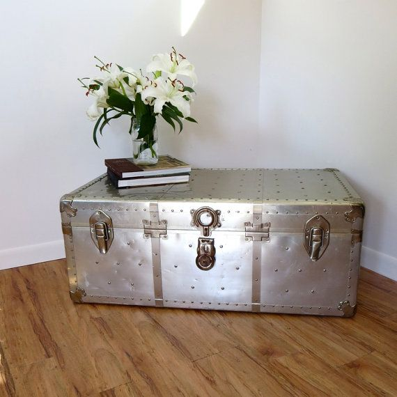 Vintage Industrial Aluminum Rivet Coffee Table Storage
