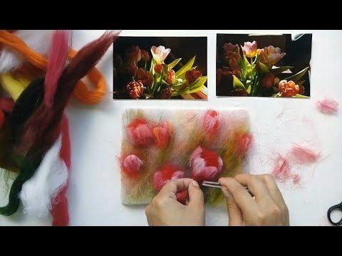 Рисуем шерстью тюльпаны
