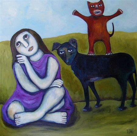 "Regina Noakes- Red Hill Art Gallery,  Brisbane. Painting ""Look Ma No Hands"" 91x91cm"