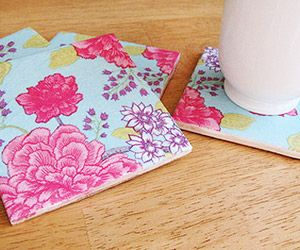 Mother's Day Gift: Use ceramic tiles to make pretty coasters