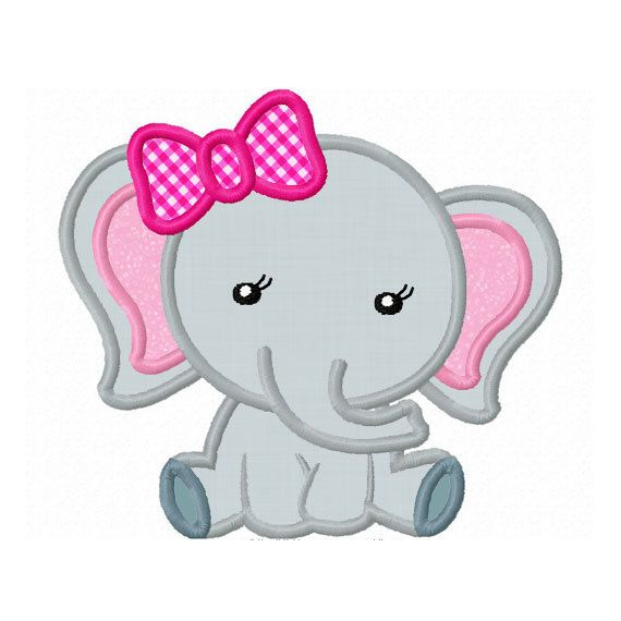 Girl Elephant Baby Applique Machine Embroidery Design NO:0156
