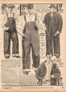 1920s mens overalls fit very wide on the body, even before oxford bags came into being. The looseness of the fit made all kind of work easier on the men. The lack of belt loops or suspenders meant clothes would not get caught on machinery. The wide fit also made more room for large pockets on the sides, back, and front bib area. They were as serviceable as any men's pants could be. http://www.vintagedancer.com/1920s/mens-pants-history/