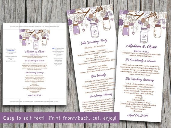 37 Best Wedding Program Templates Images On Pinterest | Wedding