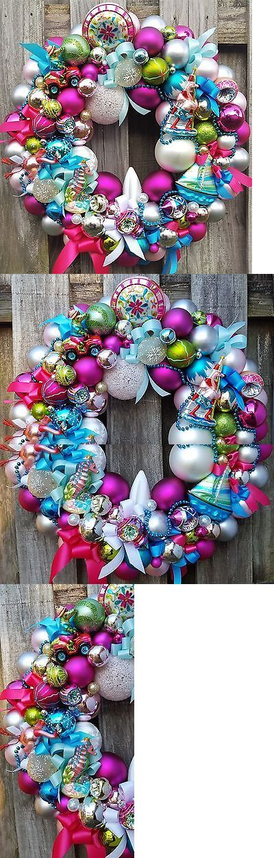 Wreaths Garlands and Plants 117419: 24 Glass Ornament Wreath Florida Vacation Tropical Flamigo Summer Christmas + -> BUY IT NOW ONLY: $279.99 on eBay!
