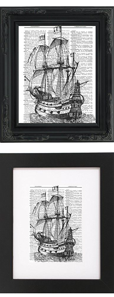 "Dictionary Art Print - Pirate Ship - Printed on Recycled Vintage Dictionary Paper - 8.5""x11"" - Mixed Media Poster on Vintage Dictionary Page"