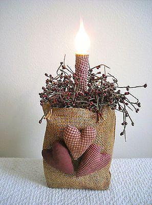 Valentine!!! Primitive Burlap Bag filled with Berries LAMP!!!