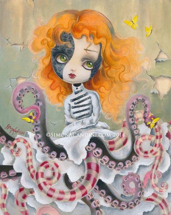 Mélancolie de Charlotte à tirage limité signé numéroté Simona Candini lowbrow pop surréaliste de grands yeux poulpe poupée fantaisie fille