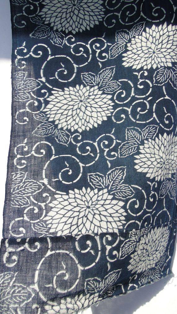 Japanese Indigo Katazome Cotton Antique Taisho Era by FurugiStar, ¥3000