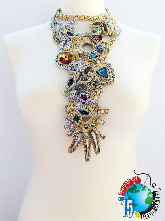 Soutache necklace. Statement soutache jewelry. by Soutachebypanka
