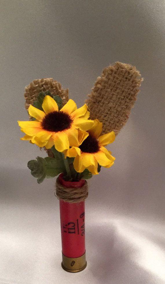 Shotgun shell sunflower boutonnière red by AllSeasonDesigns
