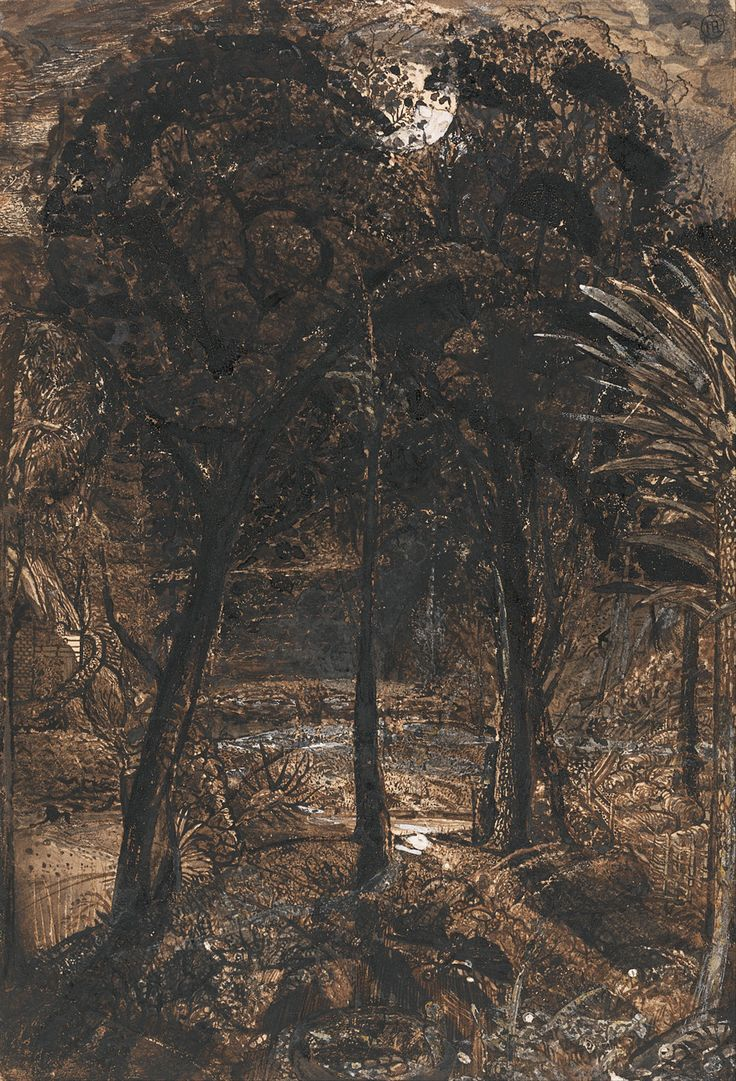 Samuel Palmer: A Moonlit Scene with a Winding River, c.1827.