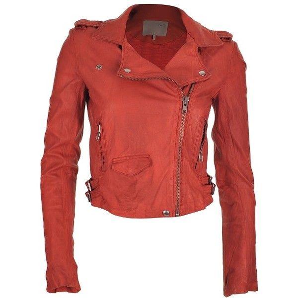 Leather biker jackets from IRO, Hoss Intropia, Muubaa | Stanwells Blog ❤ liked on Polyvore featuring outerwear, jackets, leather jacket, real leather jacket, genuine leather jacket, 100 leather jacket and red biker jacket