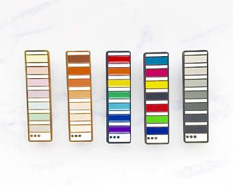Pantone Colour Guide Swatch Book Inspired Enamel Pin [Pastel Rainbow CMYK RGB Monochrome Skintone Diversity Graphic Design Flair]