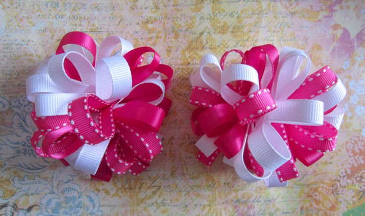 Matching hot pink and white Loopy puff hair bows for girls of all ages.