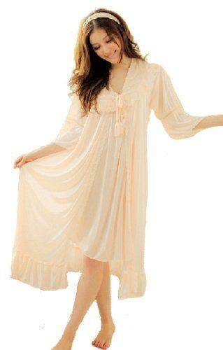 Amazon.co.jp: [YR] お上品 ロングネグリジェ スリップ&ガウンセット ナイトウェア レディースパジャマ B033: 服&ファッション小物