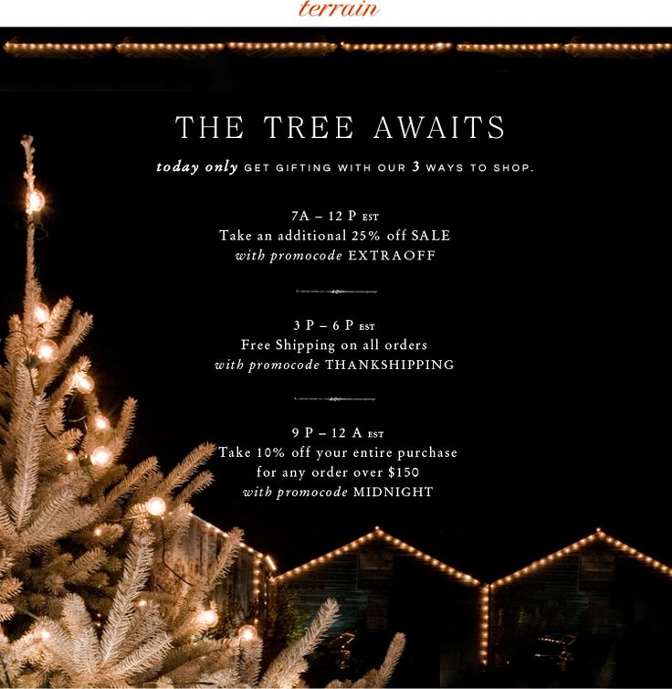 The Tree Awaits at Terrain, with 3 special ways to shop... Black Friday only!