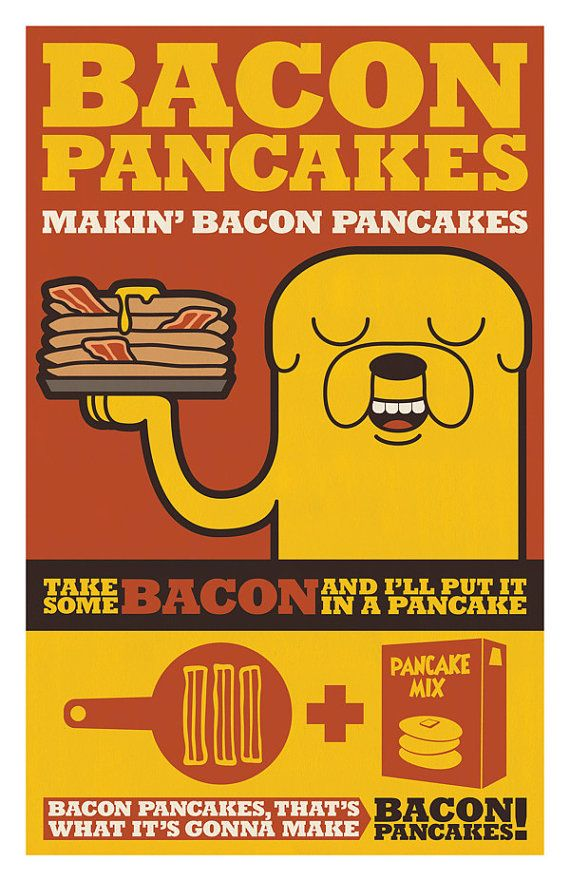 Adventure Time Bacon Pancakes by denofevilprints on Etsy, $20.00