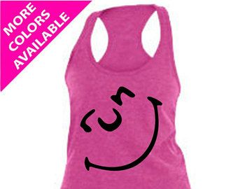 RUN SMILEY FACE - Run Happy, Women's Running Tank Top, Workout Tank Top, Custom Tank Top, Runners Tank, Running Shirt, Funny Gym Tank Top