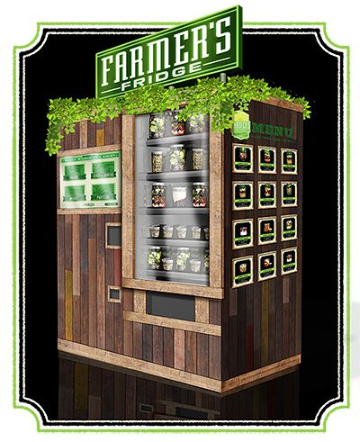 Each morning, the machine is filled with freshly made salads and snacks packed in recyclable jars. The ingredients, carefully layered to stay crisp throughout the day, are all organic, and locally grown when possible.