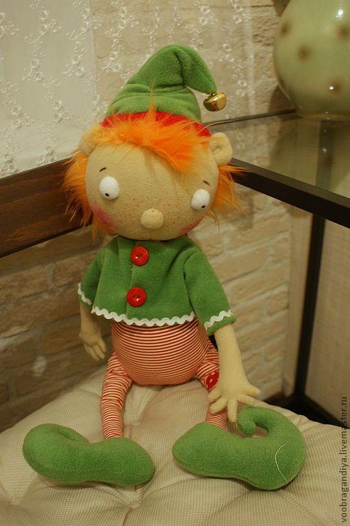 Купить Эльф - внучок Деда Санты - подарок на новый год, авторская игрушка, эльф, гном, гномик