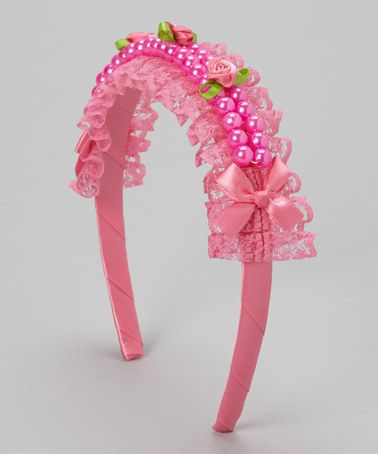 Take a look at this Hot Pink Lace Crown Headband by Tutus by Tutu AND Lulu on #zulily today!