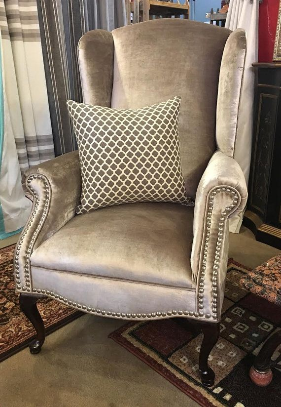 PAIR Wingback Chairs Grey Velvet Upholstery By AvantiDesigns Part 57
