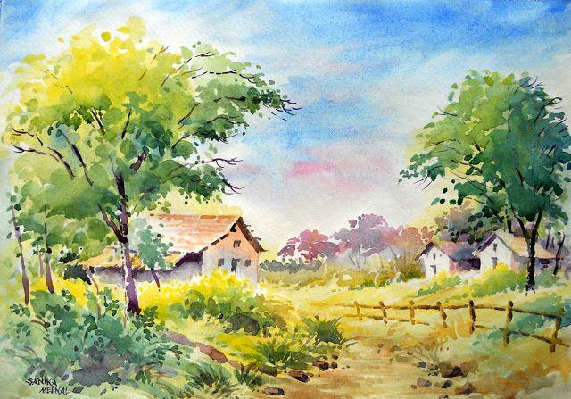 Arteworld By Sanika Dhanorkar Watercolour Painting A Landscape Landscape Paintings Beautiful Landscape Paintings Landscape Art Painting