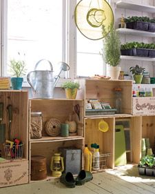 Create custom cabinetry in your garden shed with vintage wine crates from flea markets or online auctions. Stack them horizontally and vertically, using some as bases to vary heights. Once you've established a layout, connect crates with wood screws and collars near the corners. Use cup hooks to hang smaller items, such as trowels, funnels, and scissors. If your need for storage grows, you can easily reconfigure the system.