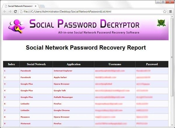 Recover Passwords From Browsers Via Social Password Decryptor http://www.techij.com/2013/08/recover-passwords-browser-decryptor.html Social Password Decryptor a free software to recover passwords from browsers of social networks like Facebook, Google plus, pinterest, twitter, linkedin, etc. #recover #passwords #softwares #free #reviews #howto